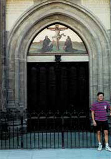 Bryan in Front of Castle Church Door in Wittenberg