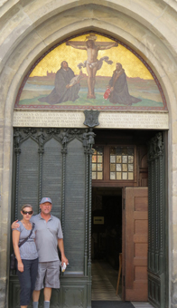In front of the Castle Church Door where Martin Luther nailed his 95 Theses.