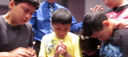 The children getting filled with God's Spirit.